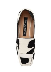 Sergio Rossi 10mm Metal Plaque Ponyskin Loafers