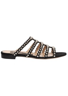 Sergio Rossi 10mm Studded Suede Slide Flats