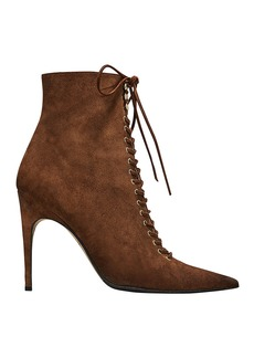 Sergio Rossi Brown Suede Lace-Up Booties