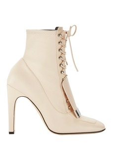 Sergio Rossi Buckled Front Flap Lace-Up Booties