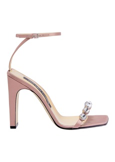 Sergio Rossi Crystal Toe Blush High Sandals