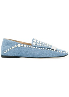 Sergio Rossi denim studded loafers
