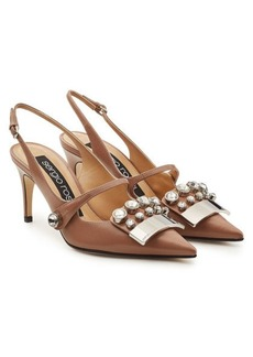 Sergio Rossi Embellished Leather Pumps