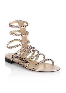 Sergio Rossi Kimberly Suede & Jewel Gladiator Sandals