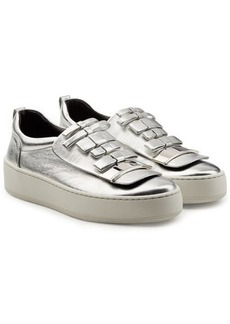 Sergio Rossi Metallic Leather Platform Sneakers