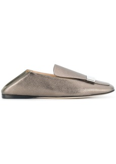 Sergio Rossi metallic square toe loafers