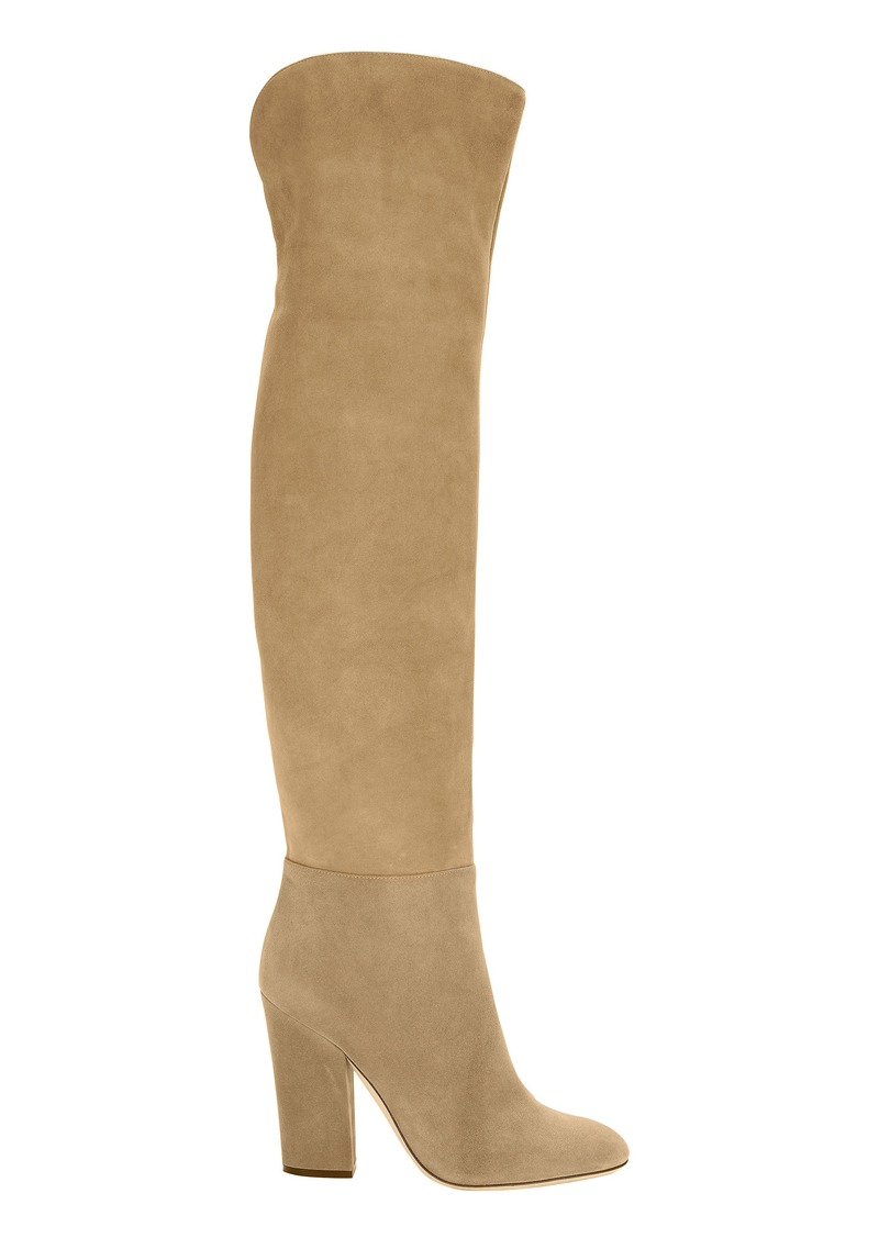 8f28243f06f Sergio Rossi Virginia Khaki Suede Over-The-Knee Boots