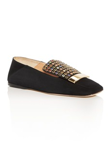 Sergio Rossi Crystal Embellished Suede Flats