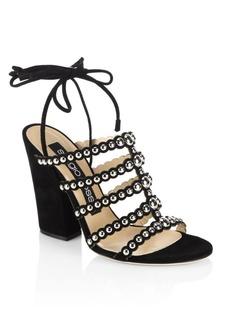Sergio Rossi Elettra Studded Suede Block Heel Sandals