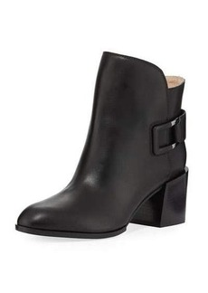 Sergio Rossi Leather Low-Heel Wrap Ankle Boot
