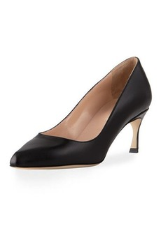Sergio Rossi Leather Point-Toe Kitten-Heel Pump