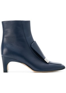 Sergio Rossi logo plaque ankle boots - Blue
