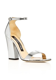 Sergio Rossi Metallic Ankle Strap High Heel Sandals
