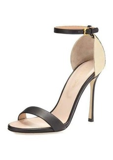 Sergio Rossi Metallic Ankle-Wrap Sandal