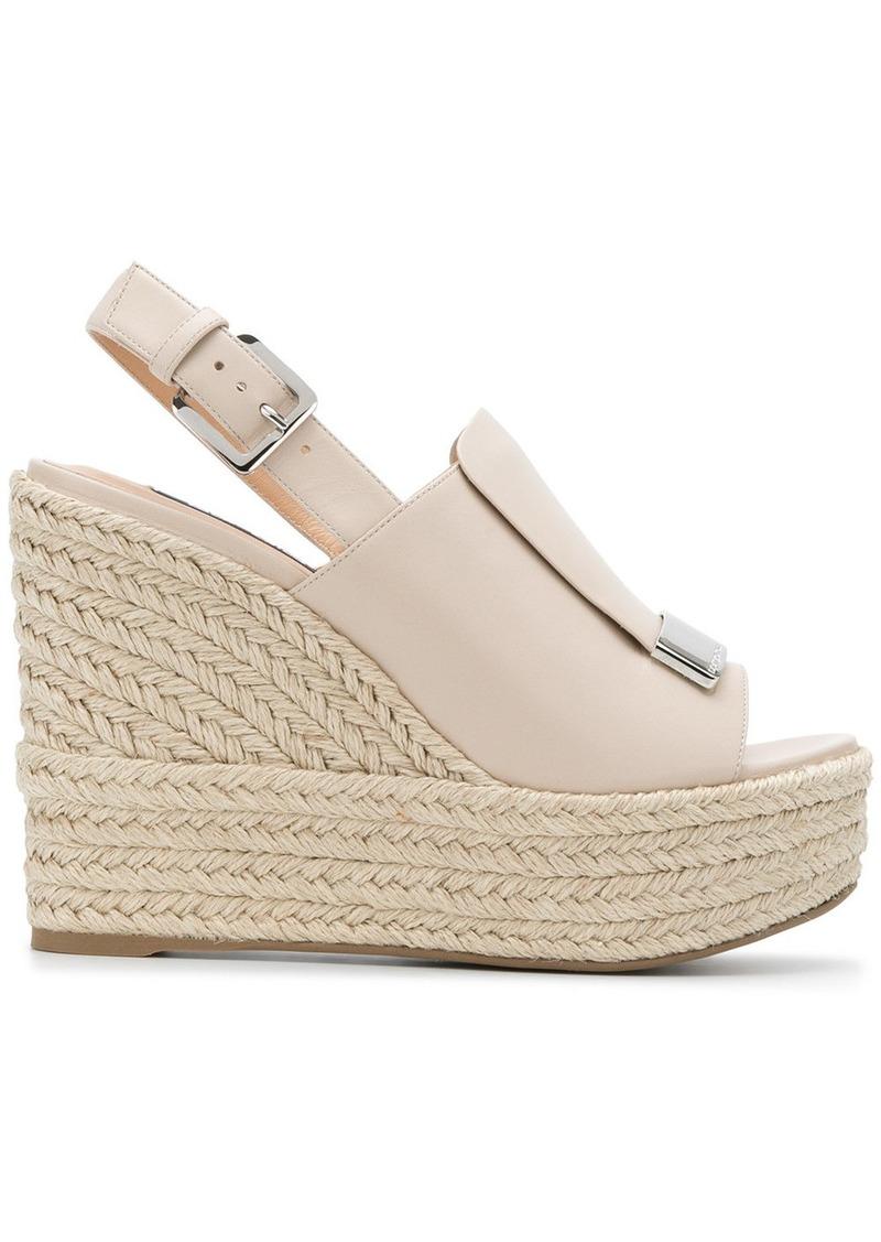 Sergio Rossi slingback platform wedge sandals - Nude & Neutrals