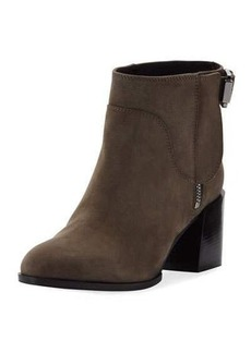 Sergio Rossi Suede Low-Heel Buckled Ankle Boot