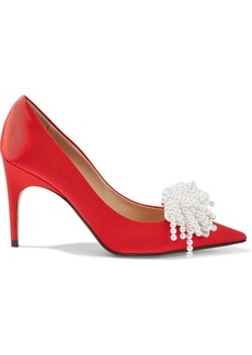 Sergio Rossi Woman + Rosie Assoulin Faux Pearl-embellished Faille Pumps Red