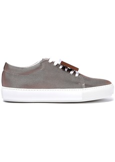 Acne Studios Woman Adriana Plaque-detailed Metallic Canvas Sneakers Copper