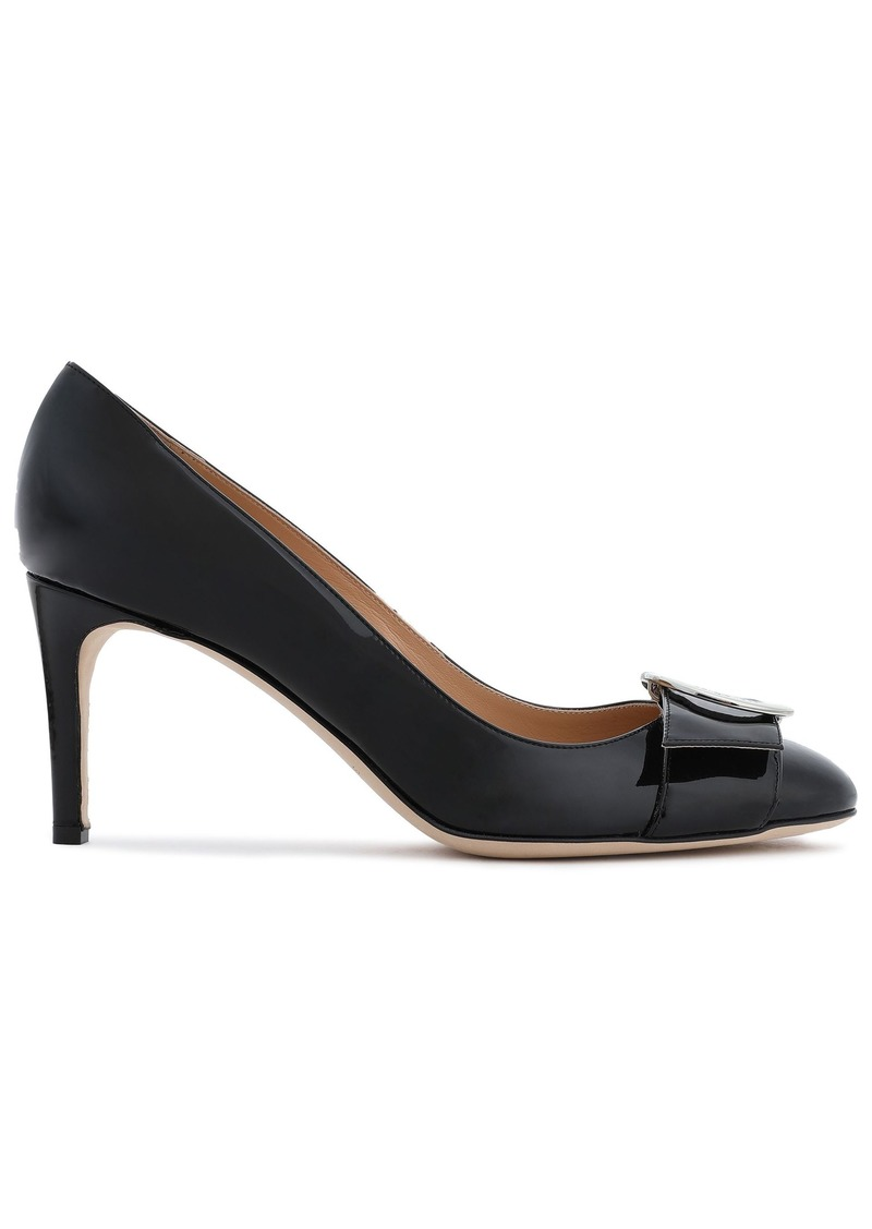 Sergio Rossi Woman Buckle-embellished Patent-leather Pumps Black