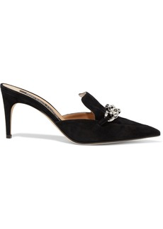 Sergio Rossi Woman Chain-embellished Suede Mules Black
