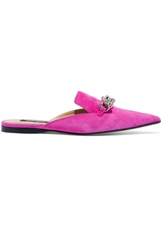 Sergio Rossi Woman Chain-embellished Suede Slippers Bright Pink