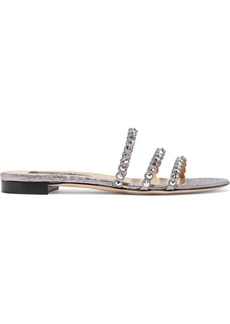 Sergio Rossi Woman Crystal-embellished Metallic Cracked-leather Slides Silver