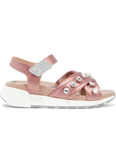Sergio Rossi Woman Crystal-embellished Satin Sandals Antique Rose