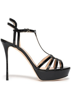 Sergio Rossi Woman Cutout Patent-leather Platform Sandals Black