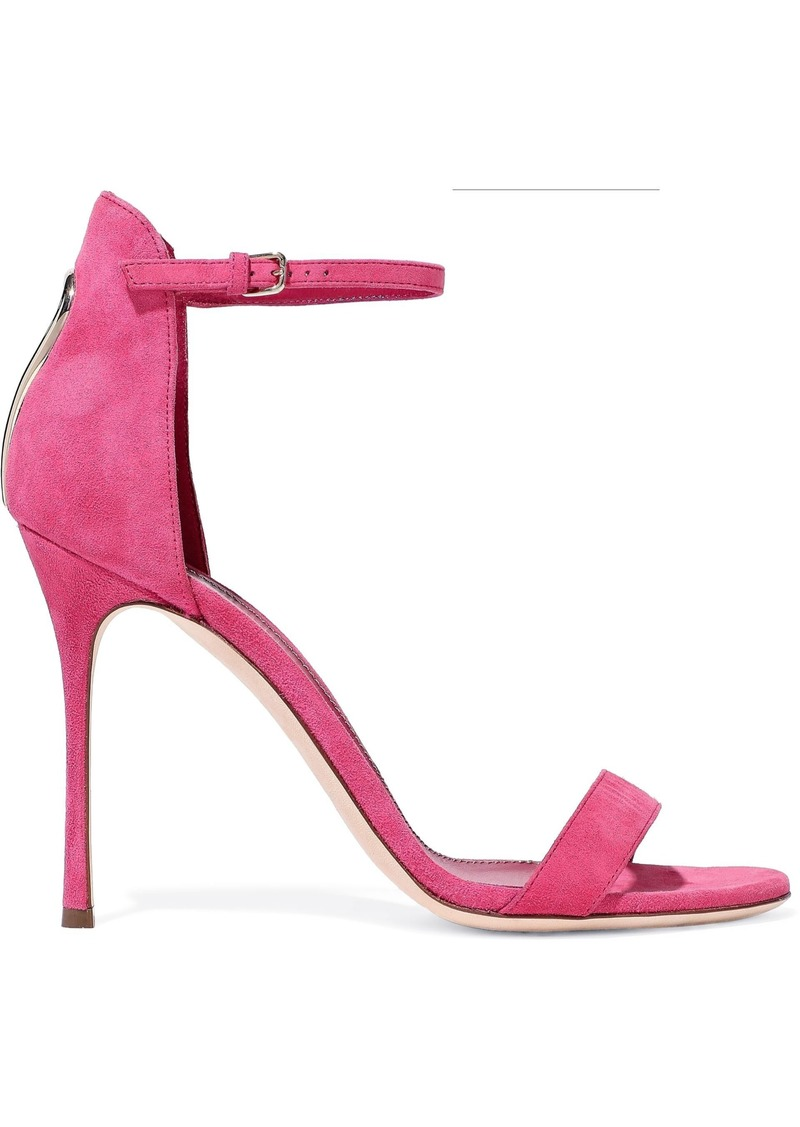 Sergio Rossi Woman Embellished Cutout Suede Sandals Fuchsia