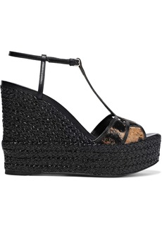 Sergio Rossi Woman Easy Puzzle Cutout Leather And Printed Calf Hair Wedge Sandals Black