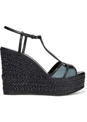 Sergio Rossi Woman Easy Puzzle Cutout Leather And Suede Wedge Sandals Midnight Blue