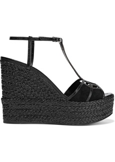 Sergio Rossi Woman Easy Puzzle Cutout Snake-effect Leather And Suede Wedge Sandals Black