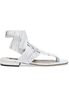 Sergio Rossi Woman Fringed Leather Sandals White
