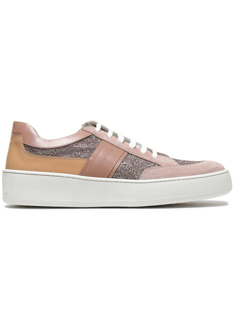Sergio Rossi Woman Glittered Leather And Suede Sneakers Antique Rose