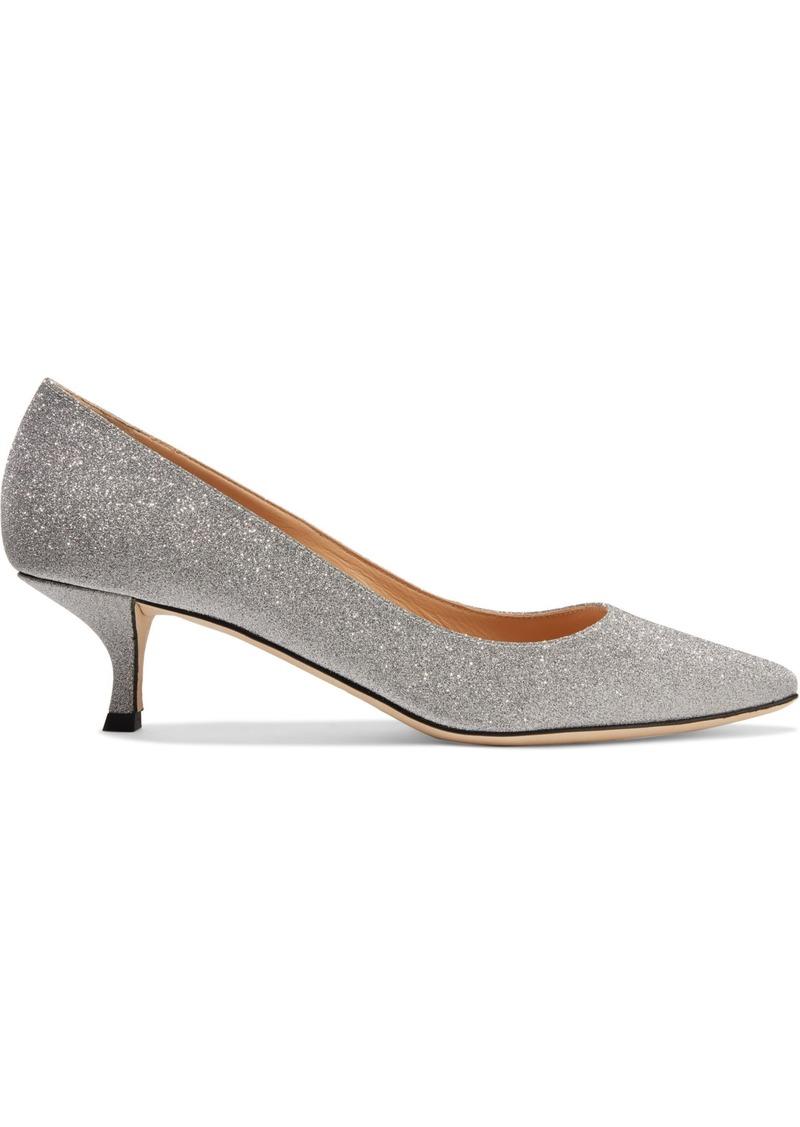 Sergio Rossi Woman Glittered Leather Pumps Silver
