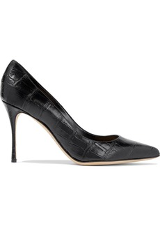 Sergio Rossi Woman Godiva 90 Croc-effect Leather Pumps Black