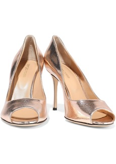 Sergio Rossi Woman Godiva Metallic Cracked-leather Pumps Blush