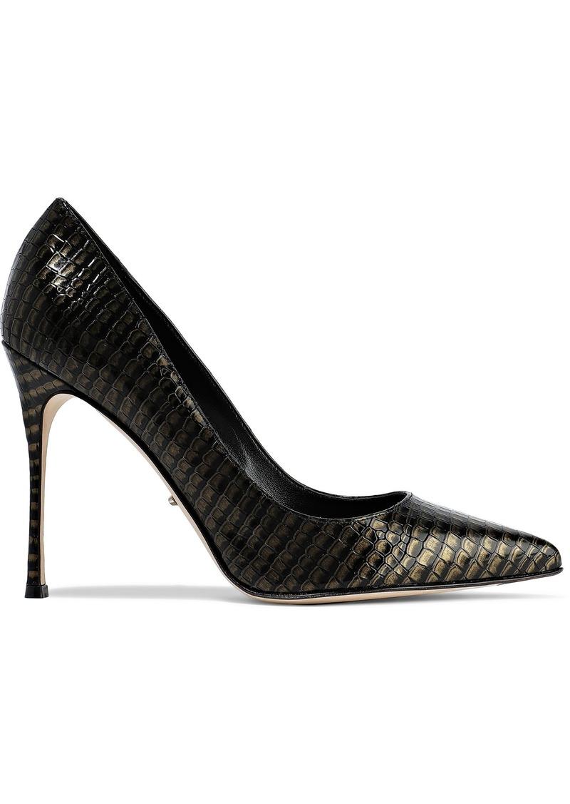 Sergio Rossi Woman Godiva Metallic Croc-effect Leather Pumps Black