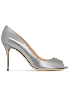Sergio Rossi Woman Godiva Metallic Leather Pumps Silver