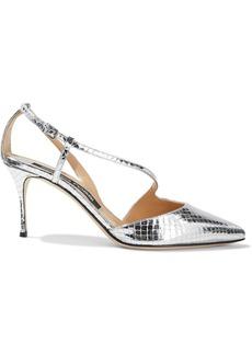 Sergio Rossi Woman Godiva Metallic Snake-effect Leather Pumps Silver