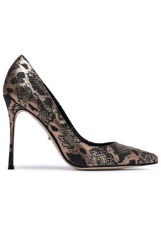 Sergio Rossi Woman Godiva Metallic Snake-print Textured-leather Pumps Black