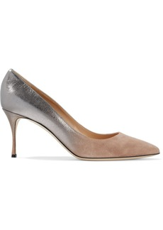 Sergio Rossi Woman Godiva Royal 75 Dégradé Metallic Leather And Suede Pumps Silver