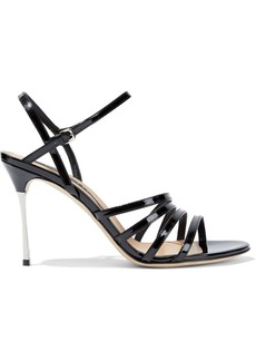 Sergio Rossi Woman Godiva Steel Patent-leather Sandals Black