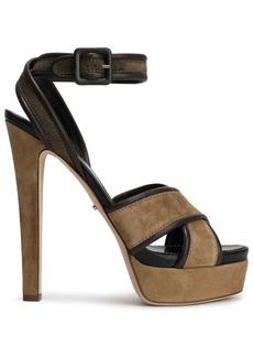 Sergio Rossi Woman Hannelore Leather-trimmed Suede Platform Sandals Mushroom