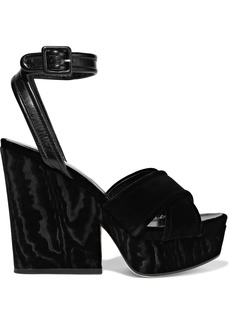 Sergio Rossi Woman Hannelore Leather-trimmed Velvet Platform Sandals Black