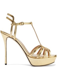 Sergio Rossi Woman Ines Cutout Metallic Crinkled-leather Platform Sandals Gold