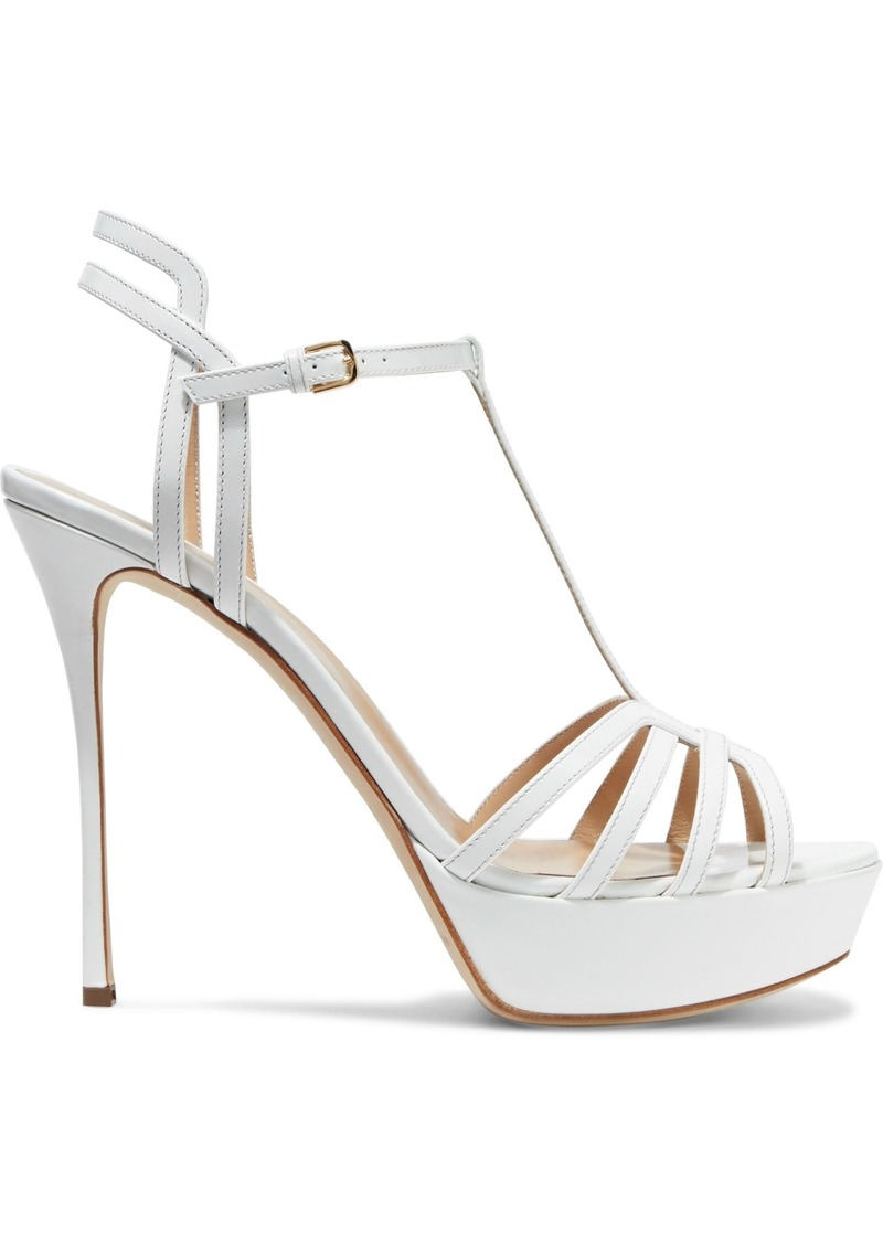 Sergio Rossi Woman Ines Cutout Patent-leather Platform Sandals White