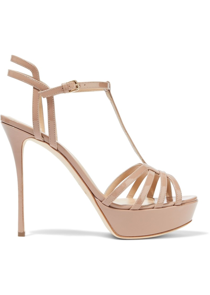 Sergio Rossi Woman Ines Cutout Patent-leather Platform Sandals Neutral