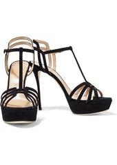 Sergio Rossi Woman Ines Cutout Suede Platform Sandals Black