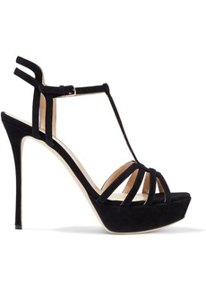 Sergio Rossi Woman Ines Cutout Suede Platform Sandals Black